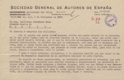 Carta de Jesús Freire a Guillermo Fernández-Shaw, felicitándole por su nombramiento como Director General de la Sociedad General de Autores de España y dándole noticias desde la delegación de México.