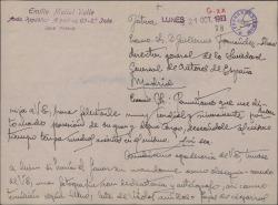 Carta de Emilio Mallol Valle a Guillermo Fernández-Shaw, felicitándole por su nombramiento como Director General de la Sociedad General de Autores de España.
