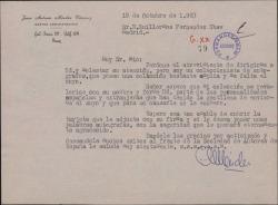 Carta de Juan Antonio Méndez Vázquez a Guillermo Fernández-Shaw, solicitando un autógrafo.