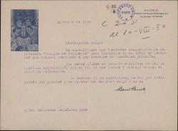 Carta de Boris Bureda a Guillermo Fernández-Shaw, pidiéndole autorización para incluir una composición suya en un libro de lecturas para la enseñanza.