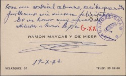 Tarjeta de visita de Ramón Maycas y de Meer a Guillermo Fernández-Shaw, felicitándole por su nombramiento como Director General de la Sociedad General de Autores de España.