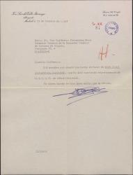 Carta de José Luis del Valle Iturriaga a Guillermo Fernández-Shaw, agradeciendo todo cuanto ha hecho por D. Juan Zaragoza Garrido.