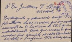Tarjeta de visita de Julio Nadal Gascó a Guillermo Fernández-Shaw, felicitándole por su nombramiento como Director General de la Sociedad General de Autores de España.