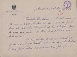 Carta de Juan [?] a Guillermo Fernández-Shaw, felicitándole por su nombramiento como Director General de la Sociedad General de Autores de España.