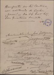 Cuartilla con numerosas firmas y una breve nota haciendo alusión a un banquete.