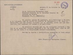 Carta de Francisco Cervantes Jimeno a Guillermo Fernández-Shaw, felicitándole por su nombramiento como Director General de la Sociedad General de Autores de España.