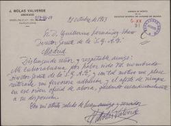 Carta de J. Molas Valverde a Guillermo Fernández-Shaw, felicitándole por su nombramiento como Director General de la Sociedad General de Autores de España.