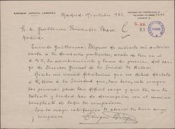 Carta de Enrique Arroyo a Guillermo Fernández-Shaw, felicitándole por su nombramiento como Director General de la Sociedad General de Autores de España.