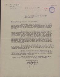 Carta de Alfonso Muñoz de Equibar a Guillermo Fernández-Shaw, felicitándole por su nombramiento como Director General de la Sociedad General de Autores de España.