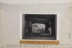 """Fotografía de un boceto de José Martínez Garí para """"La venta de Don Quijote"""" de Carlos Fernández Shaw, música de Ruperto Chapí."""