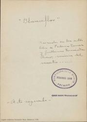 Blancaflor : zarzuela en tres actos / libro de Federico Romero y Guillermo Fernández-Shaw, música del maestro Juan Antonio Martínez.