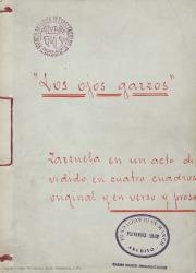 Los ojos garzos : zarzuela en un acto dividido en cuatro cuadros, original y en verso y en prosa / Carlos Fernández Shaw.
