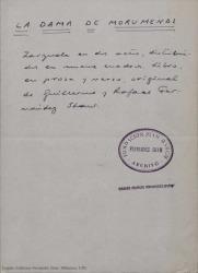 La dama de Morumendi : zarzuela en dos actos distribuidos en nueve cuadros / libro en prosa y verso original de Guillermo y Rafael Fernández-Shaw.