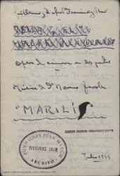 Marilí : ópera de cámara en dos partes / original de Guillermo y Rafael Fernández-Shaw. Música del maestro Moreno Torroba.