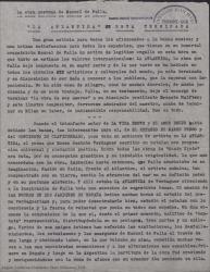 """La obra póstuma de Manuel de Falla. """"La Atlántida"""" está terminada / Guillermo Fernández-Shaw."""