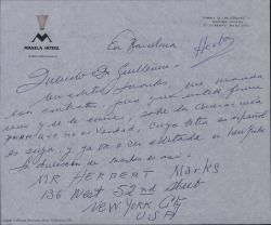"""Cartas de Ernesto Lecuona a Guillermo Fernández-Shaw sobre """"Lola Cruz"""" y otros temas."""