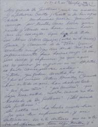 Carta de Ernesto Lecuona a Guillermo Fernández-Shaw, hablándole de su estado de salud, de su deseo de verse ya en España e invitándole a pasar unos días con él en Málaga cuando llegue.