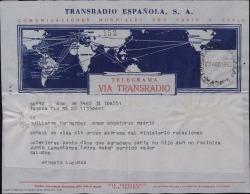 Telegrama de Ernesto Lecuona a Guillermo Fernández-Shaw, explicándole que el cónsul no sella el visado sin orden explesa del Ministerio de Relaciones Exteriores y que siente haber perdido el vapor.