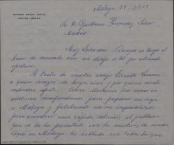 Carta de Antonio Bravo García a Guillermo Fernández-Shaw, explicándole todos los preparativos que tiene hechos para cuando llegue Ernesto Lecuona incluido un homenaje.