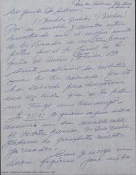 Carta de Ernesto Lecuona a Guillermo Fernández-Shaw, agradeciéndole su ayuda para conseguir los visados, contándole su plan de viaje y recordándole su invitación para pasar unos días juntos en Málaga a su llegada.
