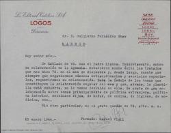 Carta de Manuel Vigil a Guillermo Fernández-Shaw, comentándole que si bien no le han incluido en plantilla, esperan contar con sus colaboraciones en números extraordinarios y servicios especiales.