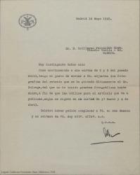 Carta a Guillermo Fernández-Shaw con firma ilegible, enviándole dos fotografías de un retrato pintado por Zuloaga para un artículo que se va a publicar.