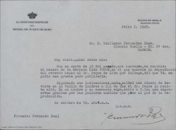 """Carta de Fernando Paz, secretario del Duque de Alba, a Guillermo Fernández-Shaw, acusando recibo del número de la revista """"Para todos"""" en el que aparece un retrato del duque pintado por Zuloaga con un texto muy amable de Guillermo Fernández-Shaw."""