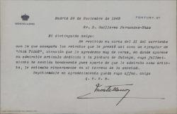 """Carta del Duque de Montellano a Guillermo Fernández-Shaw, agradeciendo el envío de un ejemplar de """"Para todos"""" con un artículo dedicado a la pintura de Ignacio Zuloaga."""