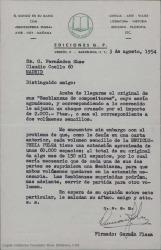 """Carta de Ediciones G. P. a Guillermo Fernández-Shaw, acusando recibo de su relato, enviando cheque correspondiente y comentando algunos detalles de la edición de este relato y otros en la """"Enciclopedia Pulga"""""""
