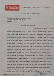 """Carta de """"La Actualidad Española"""" a Guillermo Fernández-Shaw, disculpándose por no haber podido publicar un artículo que tenían preparado sobre Carlos Fernández-Shaw por problemas de espacio en la revista."""