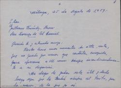 Carta de Manuel Menéndez a Guillermo Fernández-Shaw, contándole detalles sobre la organización del concurso de zarzuelas que se va a celebrar en Torrelavega.