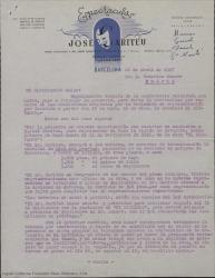 """Carta de José Cariteu a Federico Romero, dándole la conformidad por escrito de las condiciones aceptadas por la exclusiva de representación por Cataluña a partir de primero de mayo de """"El dictador""""."""
