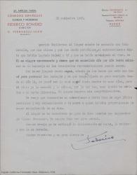Carta de Federico Romero a Guillermo Fernández-Shaw, felicitándole por el éxito logrado por él y su hermano Rafael en su último estreno.