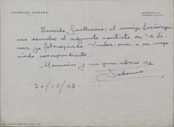 """Carta de Federico Romero a Guillermo Fernández-Shaw, diciéndole que ha recibido un contrato firmado por Lizarrága sobre """"La Severa""""."""