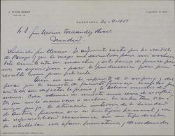 Carta de José Vives Giner a Guillermo Fernández-Shaw, comentando los problemas que surgen en la Sociedad General de Autores de España a raíz de la muerte de Jacinto Guerrero y su opinión sobre la situación en que se encuentra dicha Sociedad.