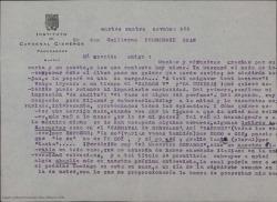 Carta de Eduardo del Palacio a Guillermo Fernández-Shaw, comentando unas correcciones a un texto que éste le envió y diciéndole lo contento que está con su soneto, su guión y su libro relacionados todos con la figura de Manuel del Palacio, su padre.