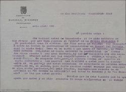 """Carta de Eduardo del Palacio a Guillermo Fernández-Shaw, agradeciendo que haya personalizado su guión de """"La Cuerda Granadina"""" en Manuel del Palacio y mostrándose entusiasmado con que además del guión este mismo asunto pudiera dar pie a una zarzuela."""