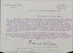 """Carta de Eduardo del Palacio a Guillermo Fernández-Shaw, agradeciendo la devolución de un guión que le envió hace tiempo para que lo leyera y confiando en su capacidad para conseguir la admisión de """"La Cuerda granadina""""."""
