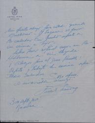 Carta de Ernesto Lecuona a Guillermo Fernández-Shaw, saludándole efusivamente desde Barcelona antes de partir para La Habana.
