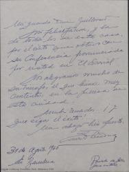 Carta de Ernesto Lecuona a Guillermo Fernández-Shaw, felicitándole por el éxito de una conferencia pronunciada por éste en El Escorial.