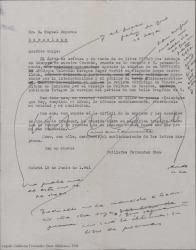 """Borrador de carta de Guillermo Fernández-Shaw a Miquel Saperas, elogiándole como poeta y ofreciéndole su traducción ya terminada de """"Paisatges""""."""