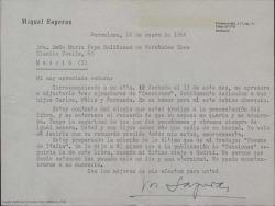 """Carta de Miquel Saperas a Josefa Baldasano, viuda de Guillermo Fernández-Shaw, enviándole unos ejemplares de """"Canciones"""", último libro en el que colaboraron, recordándole con cariño y tristeza."""