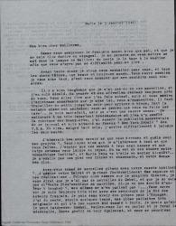 Carta de Pierre de Vignier a Guillermo Fernández-Shaw, contándole detalles de su vida cotidiana en París y preguntándole por diversos proyectos y temas teatrales.
