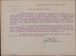 Carta de Germán de Falla a Federico Romero agradeciéndole su interés y sus gestiones a favor de su hermano Manuel de Falla.