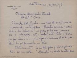 Carta de Germán de Falla a Cecilia Iturralde, agradeciéndole su telegrama con motivo de la muerte de Manuel de Falla.