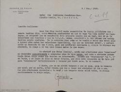 """Carta de Germán de Falla a Guillermo Fernández-Shaw, contándole sus gestiones y contactos en relación con la representación de """"La vida breve"""" en Copenhague."""