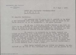 Carta de Germán de Falla a Guillermo Fernández-Shaw, agradeciéndole su gestion en la Sociedad General de Autores de España y sus informes.