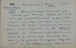 """Carta de Guillermo Fernández-Shaw desde Barcelona, a su madre Cecilia Iturralde, diciéndole que él está bien, que tiene mucho trabajo con """"La tabernera del puerto"""" y dando recuerdos para la familia."""