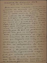 Carta de Guillermo Fernández-Shaw a su madre, Cecilia Iturralde, hablando de temas familiares.