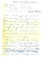 Borrador de una carta de Guillermo Fernández-Shaw a Concha Catalá, diciéndole que mucho desearía su presencia en el próximo homenaje a los hermanos Álvarez Quintero en el parque de El Retiro de Madrid.